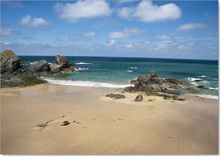 Porthcothan near Padstow in North Cornwall with views over the Camel Estuary was used to portray Nampara Cove in the filming of Poldark