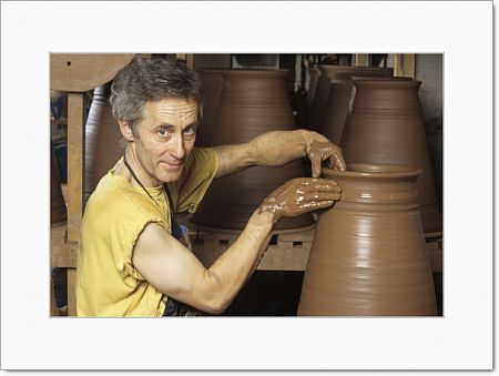 Potter John Huggins making Terracotta Rhubarb Forcers at his workshop at Ruardean in the Frest of Dean Glos