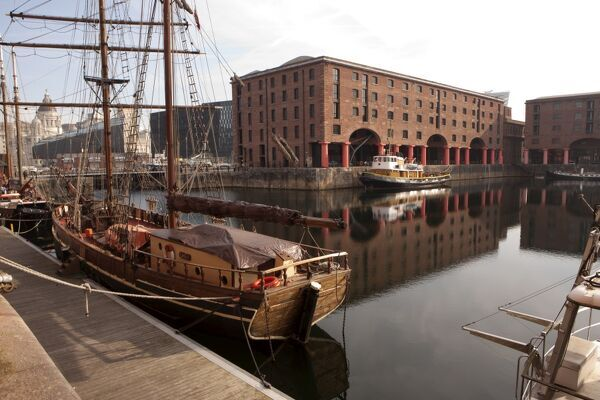 A Tallship in the Albert Docks at Liverpool, once one of the busiest ports in the country, now a busy tourist centre