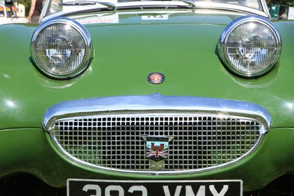 An Austin Healey Sprite at The Classic car show Boconnoc Estate near Lostwithiel Cornwall in August 2012