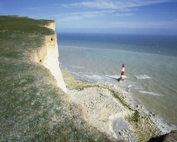 Looking down on the lighthouse at Beachy Head on the south coast near Eastbourne Sussex