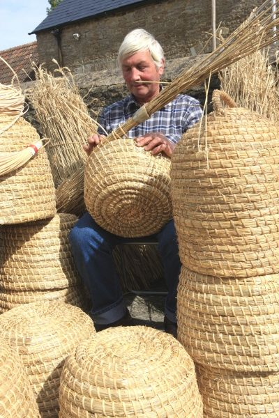 Bee Skep. David Chubb making Bee-Skeps on his farm in the Cotswolds