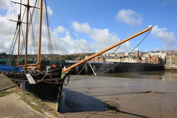 Bideford. The Kathleen & May sailing boat moored at the East-the-Water