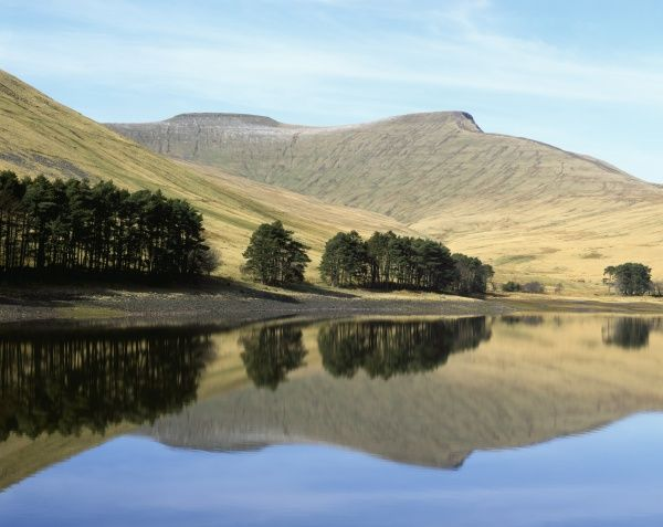 Brecon Beacons. Reflections in the Neuadd Reservoir high in the Brecon