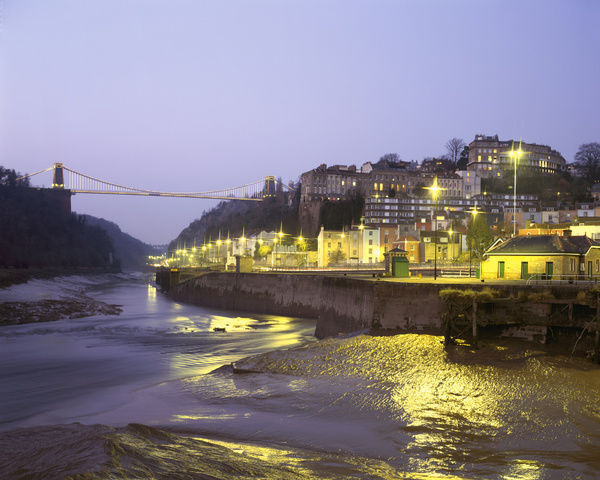 Low tide on the River Avon and the Port of Bristol below the Clifton Suspension Bridge at night