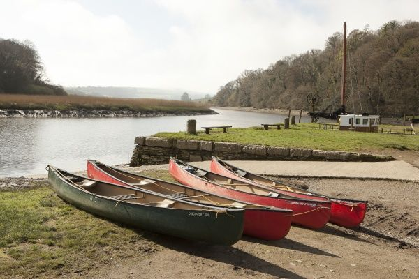 Canoeing on the River Tamar at Cotehele Quay, below Cotehele House nr Saltash in Cornwall