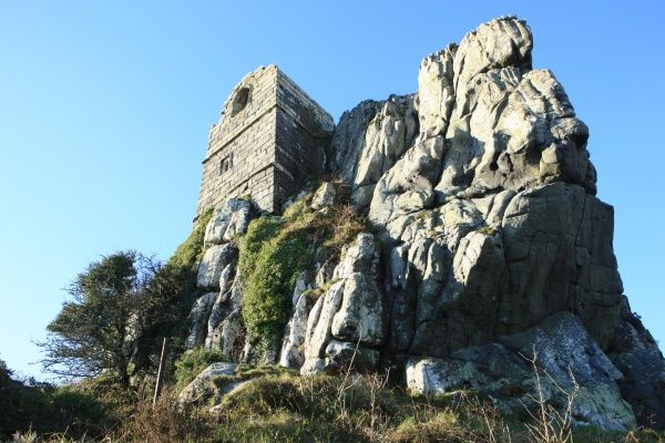 The ruins of St Michaels Chapel, a medieval hermitage on Roche Rock built in 1409 near St Austell, Cornwall