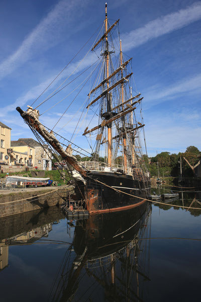 Tall Ships in the Historic Harbour at Charlestown Cornwall, Part of Poldark was filmed around the quay