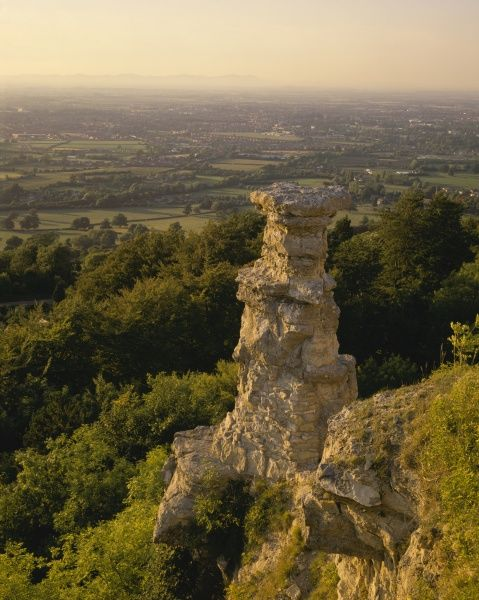 The famous Cotswold landmark over-looking Cheltenham The Devil's Chimmey was made by Victorian quarrymen