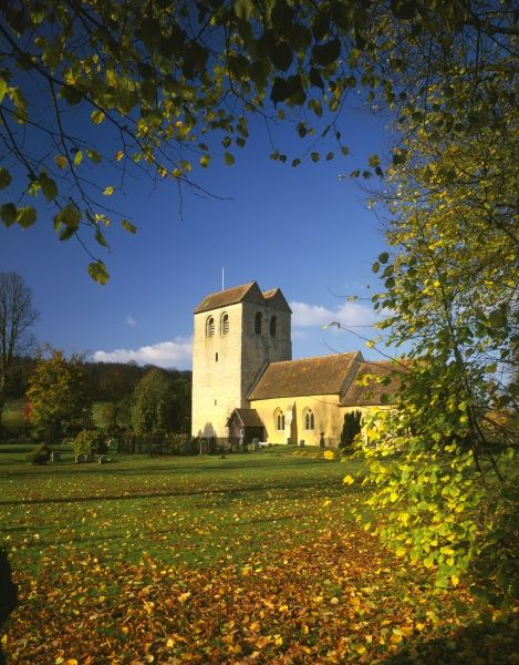 An autumn morning in the chilterns at the village of Fingest with its fine church and Norman Tower