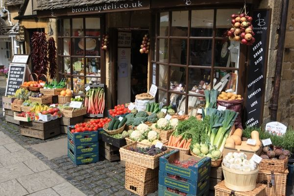Fresh vegetables on display outside a shop in the Cotswold village of Broadway