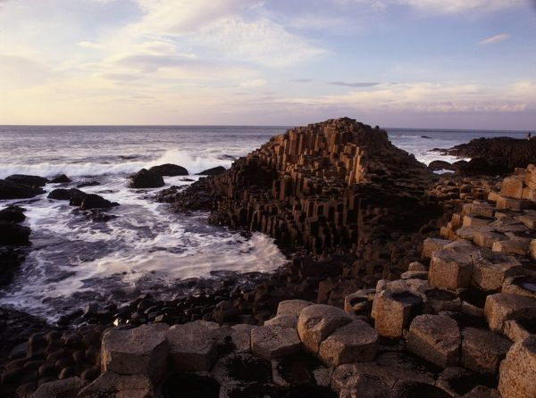 The rock stacks that make up the magnicent landscape of the Giant's Causeway which were formed during volcanic cruptions more than 60 million years ago