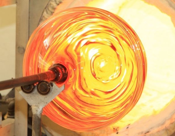 Colin Hawkins Blowing Glass at Cirencester