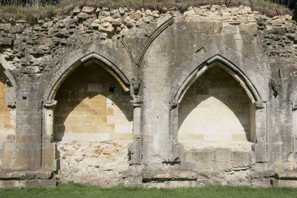 Hailes Abbey. Stone Arches at the ruined Hailes Abbey near Winchcombe in the Cotswolds
