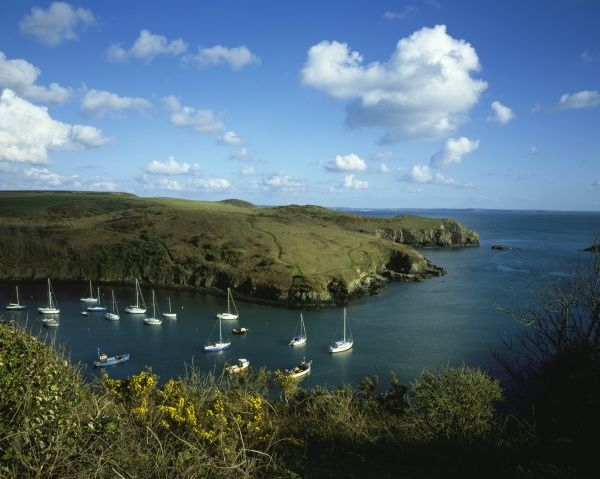 The harbour at Solva on the Pembrokeshire Coast in Wales with ite fishing and sailing boats
