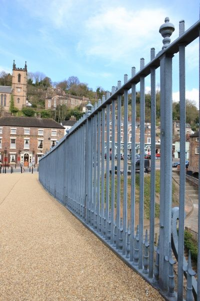 Railings on the world's first Iron Bridge over the river severn at Ironbridge near Telford