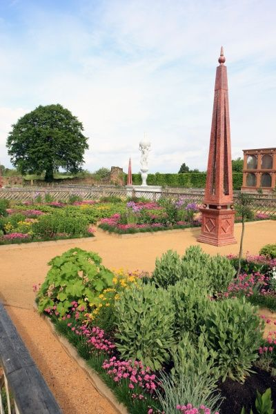 Kenilworth Castle. The recreated garden at Kenilworth Castle Warw