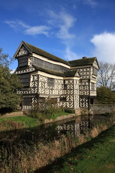 One of the most famous house in Great Britain, Little Moreton Hall with its moat. A tudor timber-framed manor house built in the mid-16th century, near Congleton Cheshire