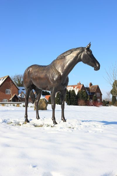 A statue on the Village Green, in memory of the racehorse Best Mate, ( three times winner of the Gold Cup ) which was trained Lockinge