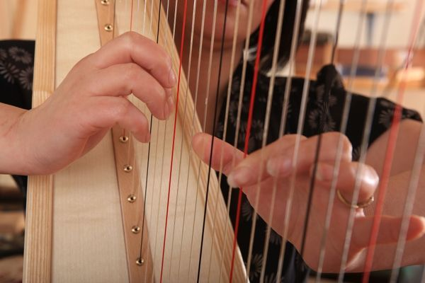 Harps. A new Harp being tested at The Harp Centre of Wales, at Llandysul Wales