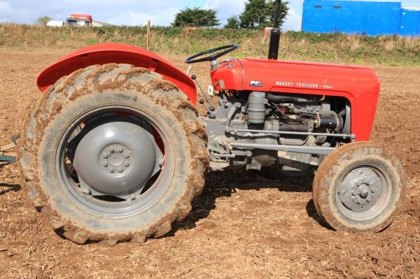 Ploughing Match. Vintage Massey Fergieguso 35 tractor at a Ploughing Match