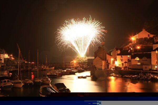 Fireworks at Polperro the fishing village in Cornwall