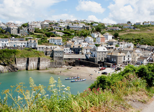 The harbour at Port Isaac in North Cornwall England, known around the world as Port Wenn the home of Doc Martin is a British television comedy drama series starring Martin Clunes, on TV