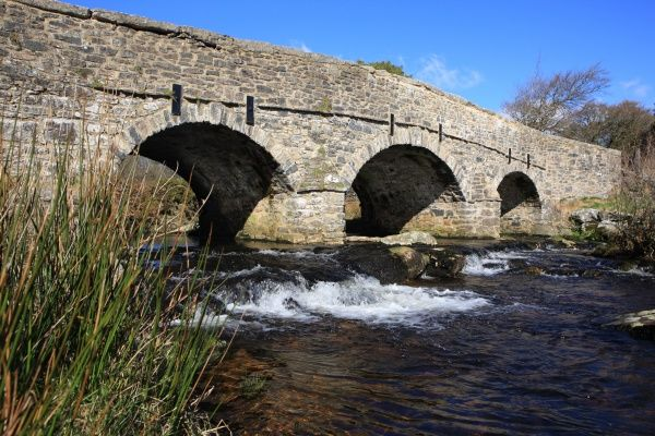 Postbridge Devon. The new bridge over the East Dart River on Dartmoor at Postbridge