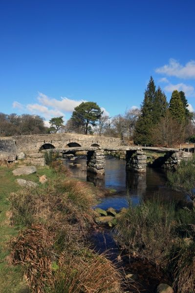 Postbridge Devon. The two bridge's over the East Dart River on Dartmoor at Postbridge