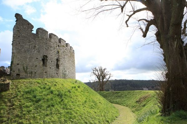 The great of round keep at Restormel Castle, a 13th century ruin and moat near the Cornish town of Lostwithiel