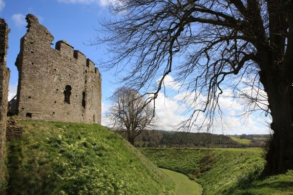 The 13th century circular keep of Restormel castle at Lostwithiel Cornwall on a spring day