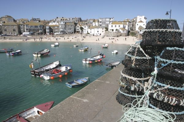 St Ives. Fishing boats in the Historic Harbour at Portloe Cornwall