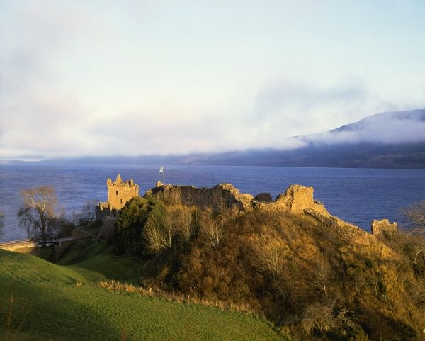 Urquhart Castle on a winters day over looking Lock Ness in Scotland