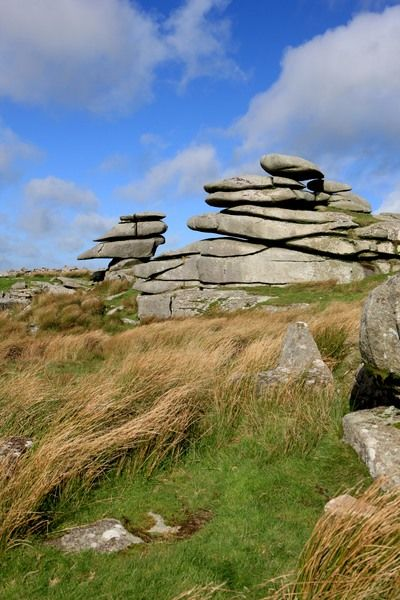 A Windswept stones shaped by the wind over years, high on Bodmin Moor below the Cheesewring a granite tor on the eastern flank of the Moor at Stowe's Hill near Minions. Bodmin Moor has many Tor's, the Chessewring is one of the largest and most visited
